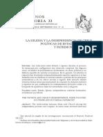01, 2010, Cavieres, Eduardo, La Iglesia y La Independencia 2