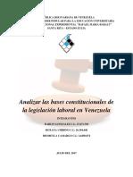 Analizar Las Bases Constitucionales de La Legislación Laboral en Venezuela