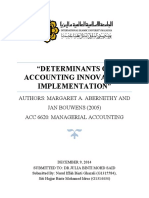 Determinants of Accounting Innovation Im