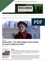 """Asya Çem_ """"La Vida Dentro de La Lucha e...s Los Días"""" – Resumen de Medio Oriente"""