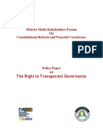 Policy Paper on the Right to Transparent Governance
