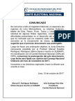 COMUNICADO DEL COMITÉ ELECTORAL NACIONAL