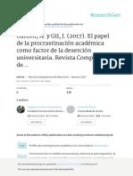 Garzón, A. y Gil, J. (2017). El Papel de La Procrastinación Académica Como Factor de La Deserción Universitaria