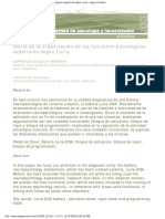 Teoría de La Organización de Las Funciones Psicológicas Superiores Según Lur