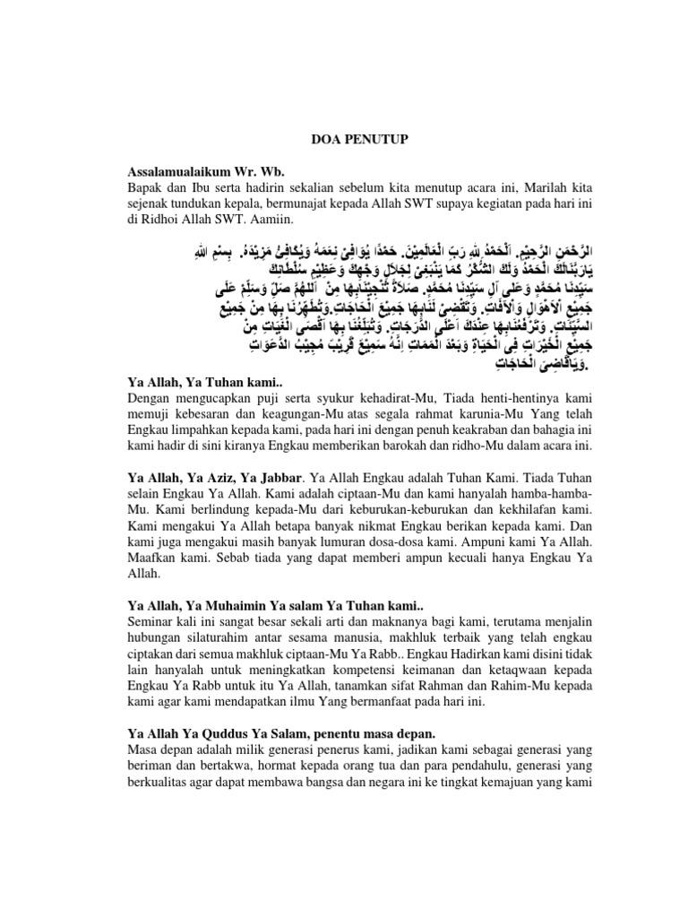 Teks Doa Penutup Acara Seminar