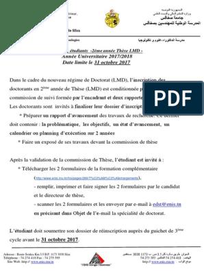 Avis De Thèse 2ème Année 2017 Pdf Doctorat Academia