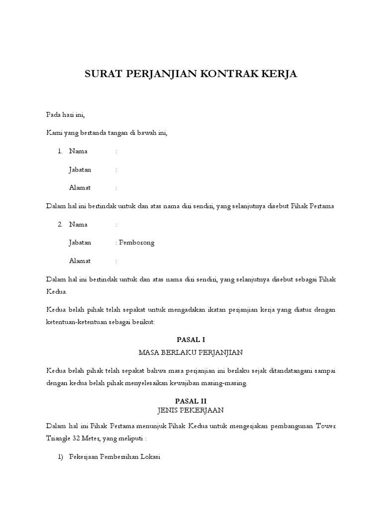 Contoh Surat Perjanjian Proyek Desain In