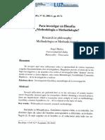 Muñoz García, Ángel - Para Investigar en Filosofía Methodologia o Methodiologia