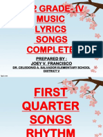 Songs With Lyrics and Tune From 1st to 4th Quarter