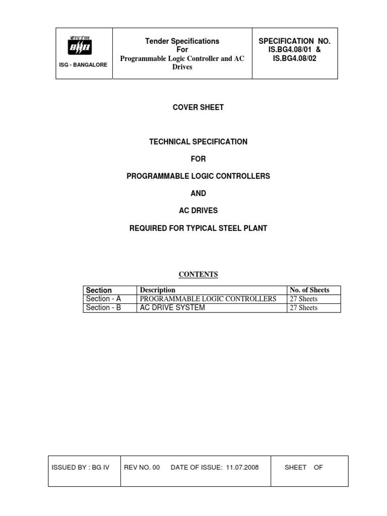 Tender for PLC & Drive.pdf   Programmable Logic Controller ...