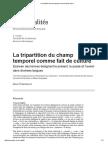 La Tripartition Du Champ Temporel Comme Fait de Culture