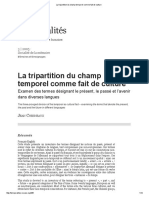La Tripartition Du Champ Temporel Comme Fait de Culture
