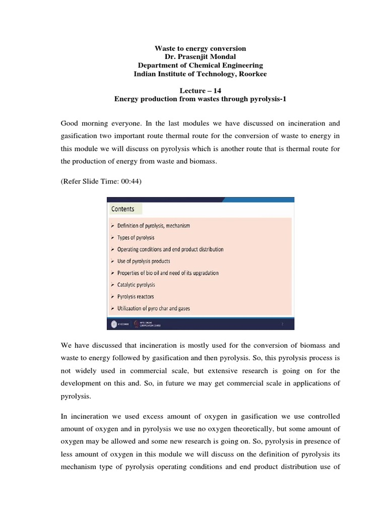 lec14 | Pyrolysis | Gasification