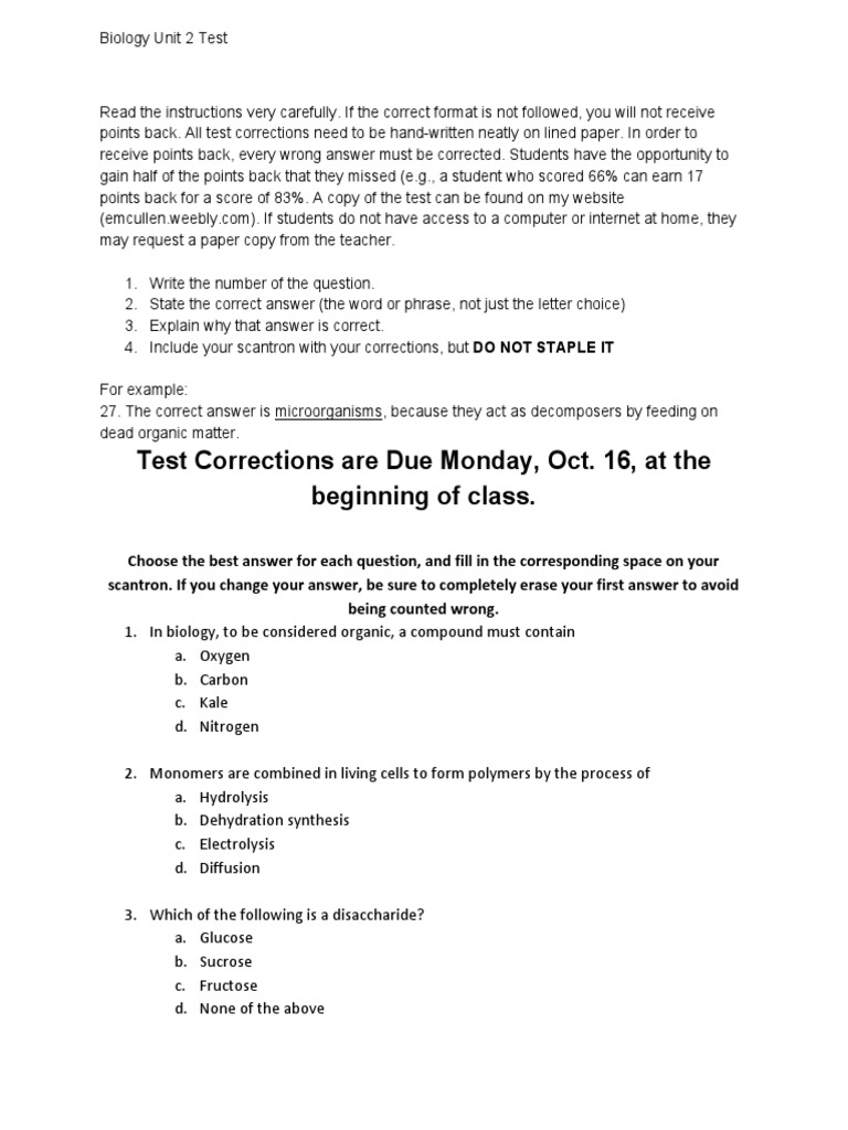 biology unit 2 test 1   Carbohydrate Chemistry   Carbohydrates
