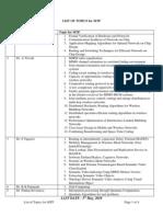 List of Topics ForMTP