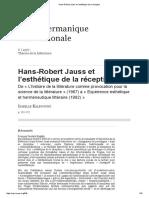 Hans-Robert Jauss Et l'Esthétique de La Réception