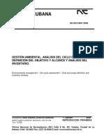 NC ISO 14041. Gestión ambiental. Análisis del ciclo de vida. Definición del objetivo y alcance y análisis del Inventario..pdf