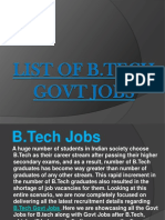 List of B.tech Govt Jobs