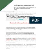 Historia Del Día de La Independencia de Perú