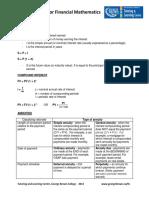 Formula Sheet for Financial Mathematics