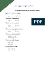 Théorèmes logiques en algèbre de Boole