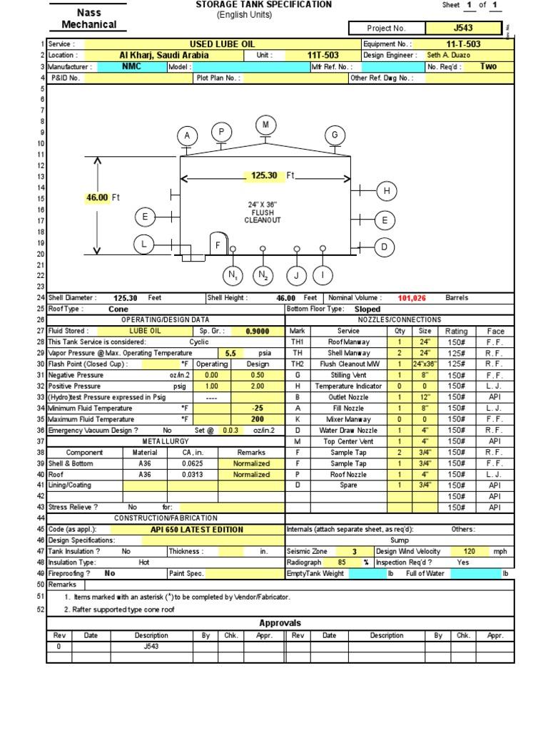 API 650 Tank Design 1 | Nozzle | Pressure
