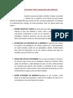 Acciones Necesaras Para Organizar Una Empresa