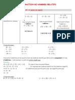 cours soustraction de nombres relatifs