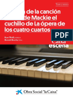 Partitura de La Cancion Balada de Mackie El Cuchillo de La Opera de Los Cuatro Cuartos
