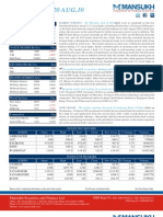 Report on Stock Market Outlook by Mansukh Investment 20Aug,2010
