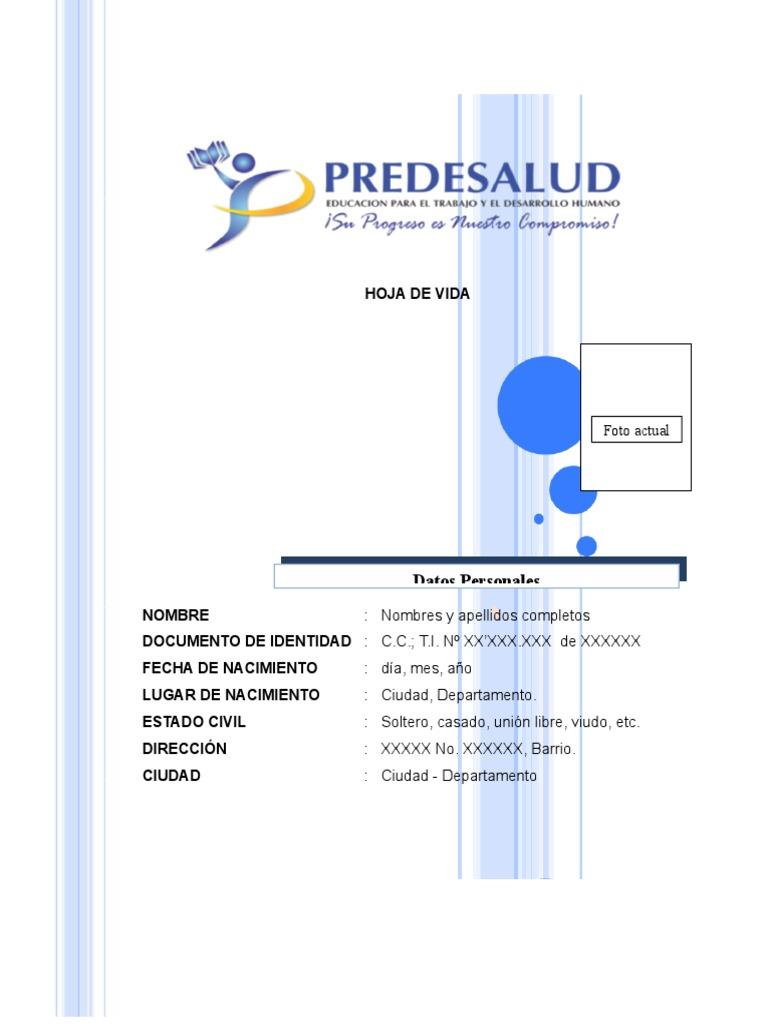 Modelo de Hoja de Vida de Predesalud (2)