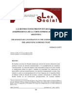 Las restricciones presupuestarias en la jurisprudencia de la Corte Suprema de Justicia Argentina