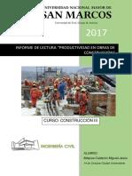 Productividad en Obras de Cosntruccion ING CIVIL UNMSM