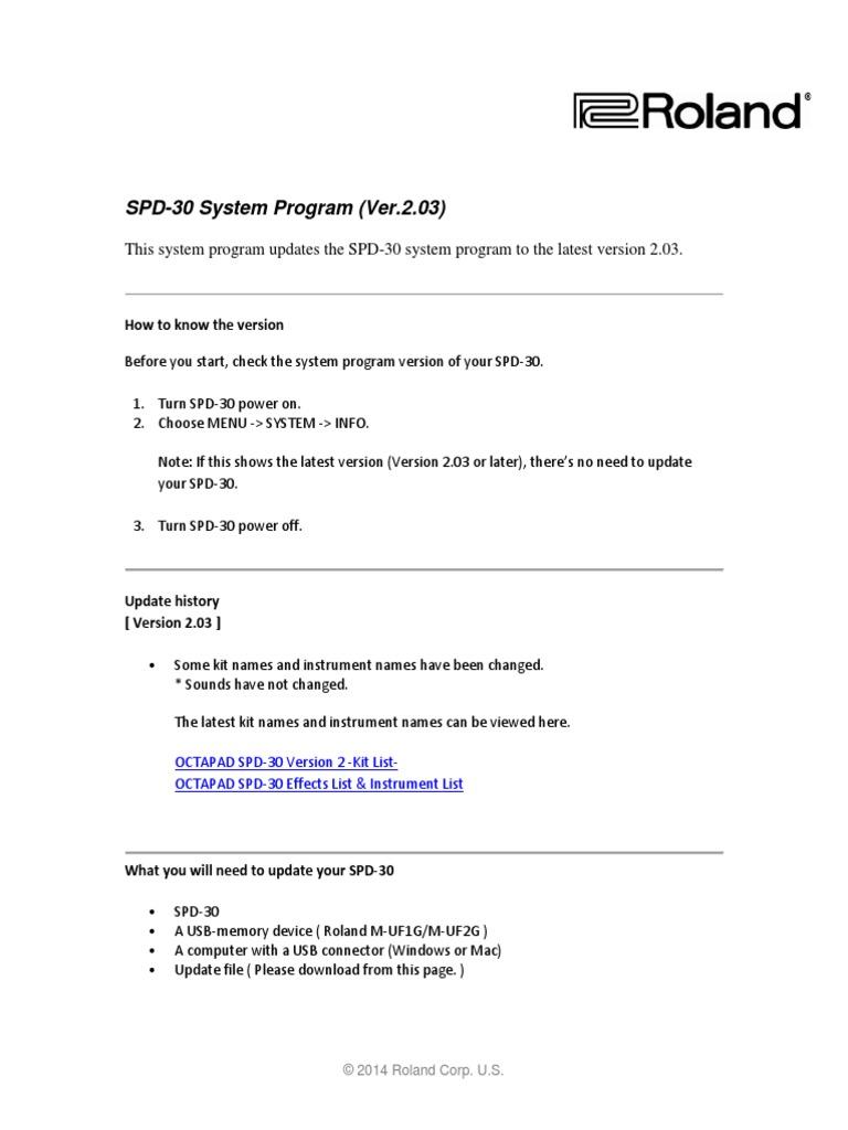 SPD-30 System Update Procedure | Computer File | Usb