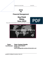 ACCA F9 Key Point Notes - June 2010
