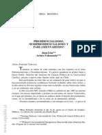 Linz y Valenzuela. Parlamentarismo, Semipresidencialismo y Presidencialismo