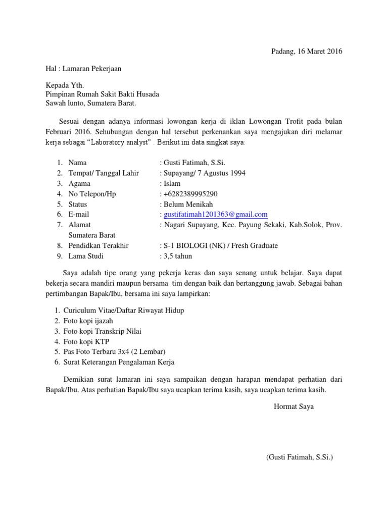 Surat Lamaran Kerja Rumah Sakit Bakti Husada
