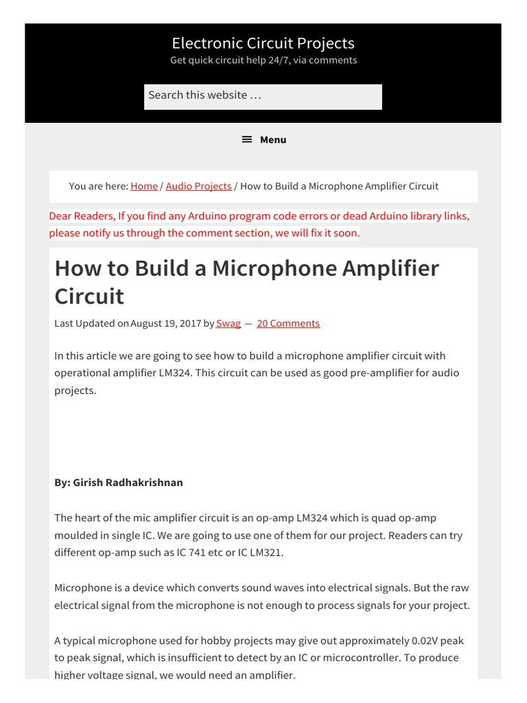 How To Build A Microphone Amplifier Circuit Electronic For Project Operational