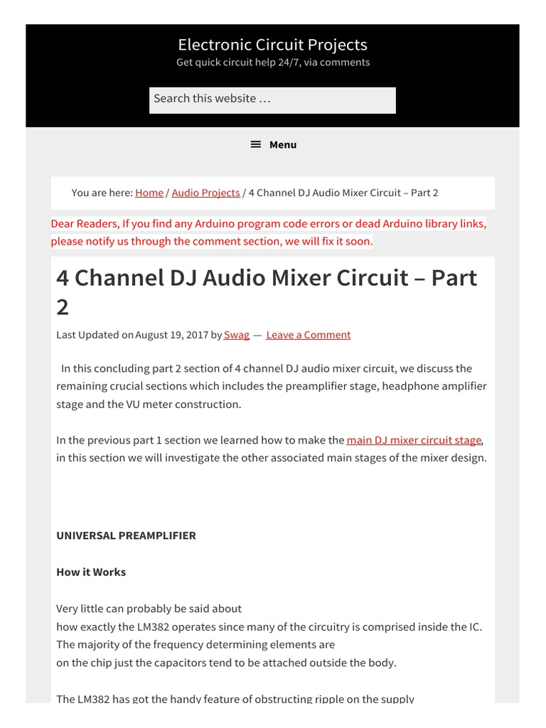 4 Channel Dj Audio Mixer Circuit Part 2 1 Headphones Amplifier Ic 4017 Circuits And Projects 16