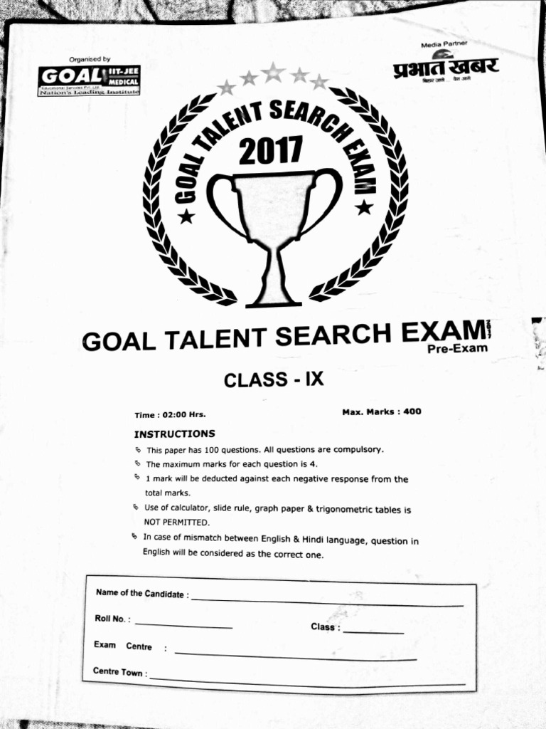 Goal talent Search Examination question paper for class 9
