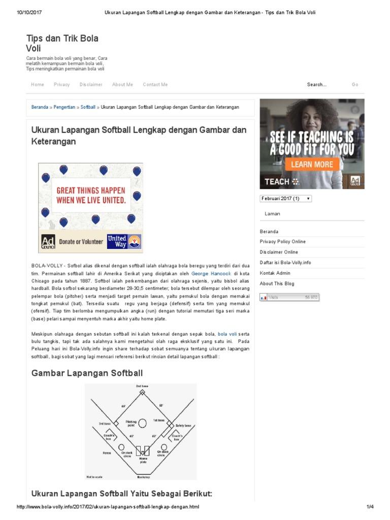 Ukuran Lapangan Softball Lengkap Dengan Gambar Dan Keterangan Tips Dan Trik Bola Voli