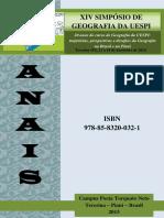 Oficial Anais Do Xiv Simpc3b3sio de Geografia Da Uespi Publicado Em 20151