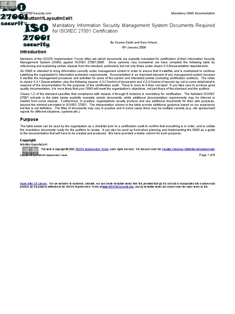 Iso27001 Mandatory Isms Documents Information Security Audit