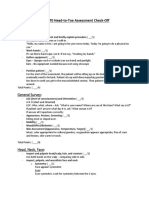 Nursing Head to Toe Assessment Notes From Checkoff Sheet
