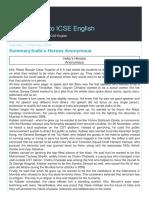 An Approach to Icse English Summary Indiaa s Heroe