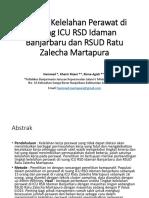 Perbandingan Tingkat Kelelahan Perawat Di Ruang ICU RSD