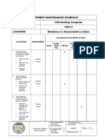 Form 2 - Equipment Maintenance Schedule