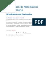 Curso Gratis de Matemáticas Sexto Primaria DIVIDIR DECIMALES