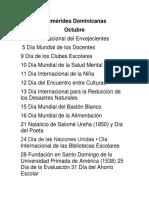 Efemérides Dominicanas de Octubre 2017