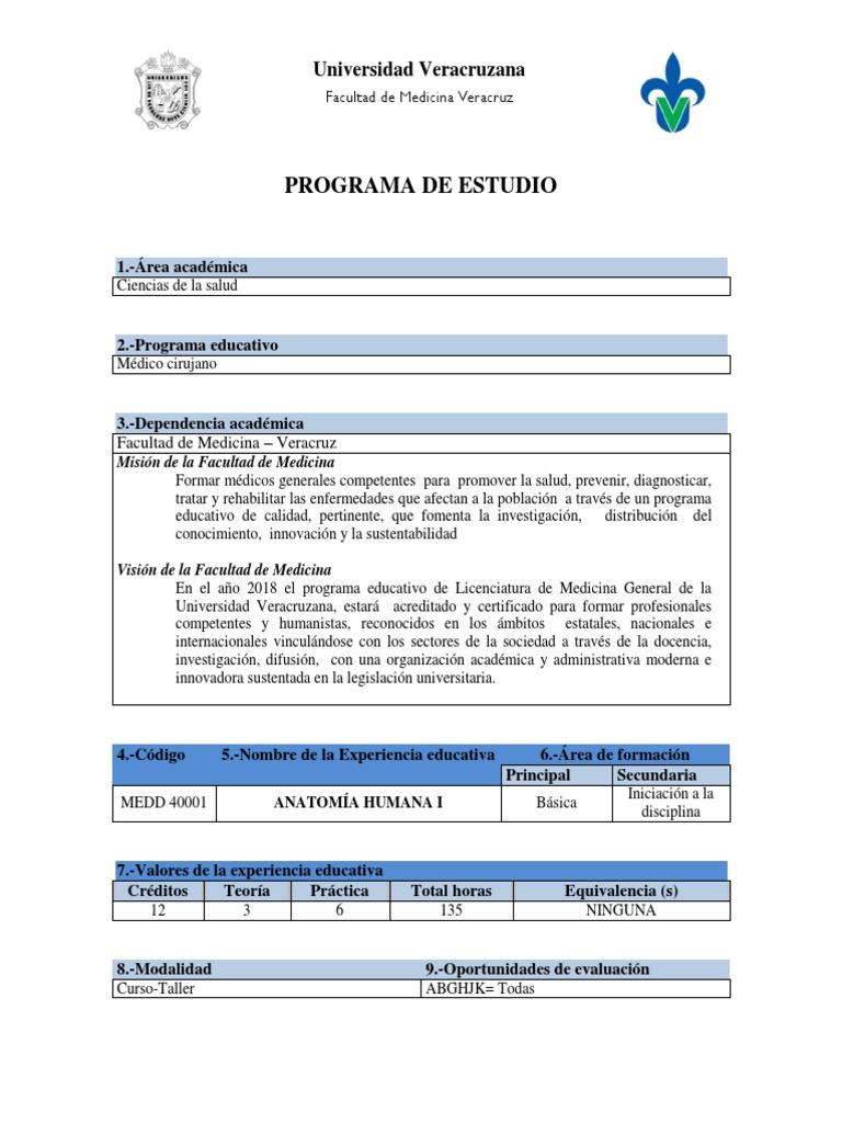 Anatomía Humana I - Programa Académico